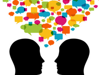 Graphic of two people talking with lots of yellow, orange, blue, green, and pink speech bubbles floating above them.
