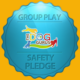 "A gold background with a blue badge that reads, ""Group Play Safety Pledge,"" and has The Dog Gurus logo on it."