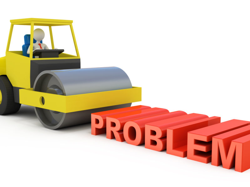 """Computer rendered graphic of a faceless person driving a steamroller over the three-dimensional word """"Problem."""""""