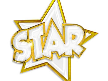 """A gold star with the word """"star"""" outlined in gold over it."""