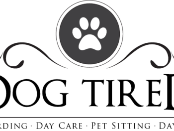 A black, grey, and white Dog Tired logo.