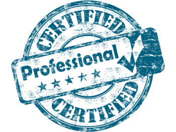 """Worn blue-and-white seal that reads, """"Certified Professional."""""""