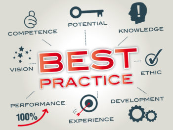 A graphic for best practices that refers to experience, performance, vision, competence, potential, knowledge, ethics, and development.