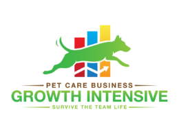 Green, blue, red, and brown logo for Pet Care Business: Growth Intensive, Survive the Team Life course.