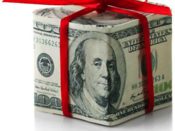 A box made out of one-hundred-dollar bills with a red ribbon tied around it.