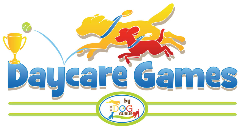 Daycare Games Graphic with a trophy and two dogs of different breeds and sizes with medals around their necks chasing after a bouncing tennis ball.