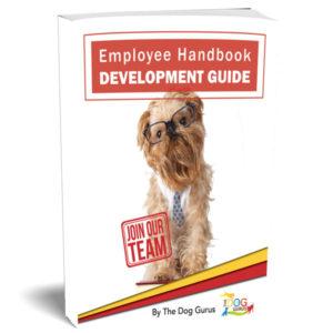pet industry employee handbook cover written by the dog gurus.